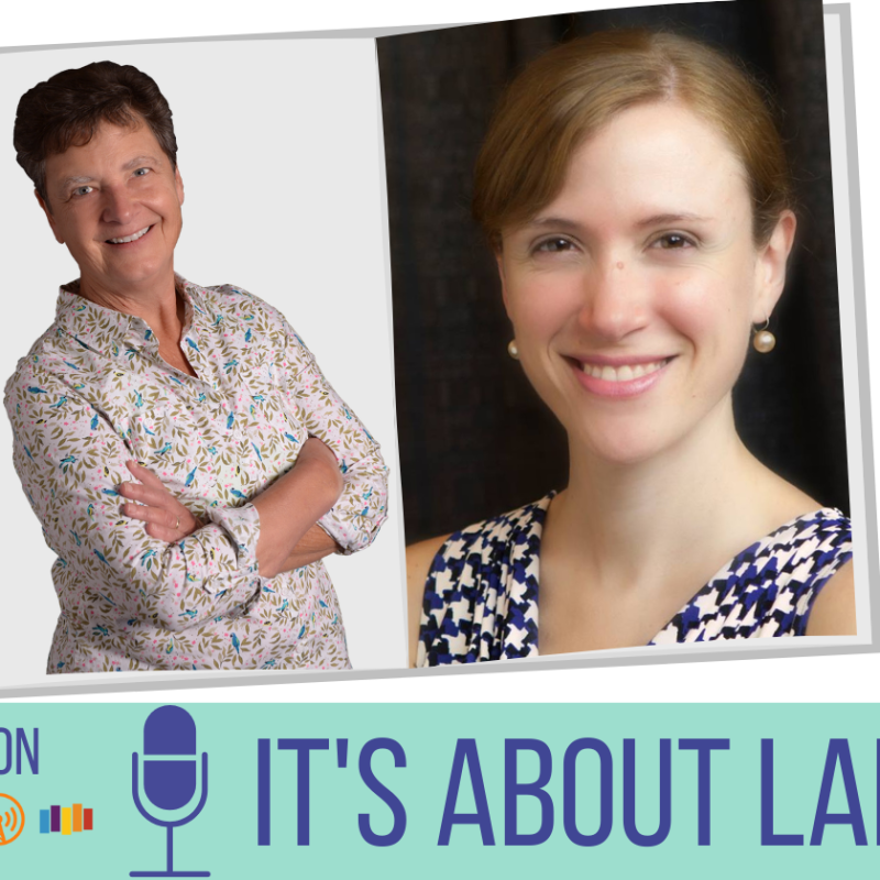 From left. Text: Hosted by Norah L. Jones. Photo of woman with short brown hair, arms crossed, wearing floral blouse. Photo of woman with reddish brown hair, wearing earrings and white, blue, black patterned shirt. Text: This week's guest Florencia Henshaw. On bottom. Text: Available on. Underneath icons for podcast streaming services. Large text: It's about language.